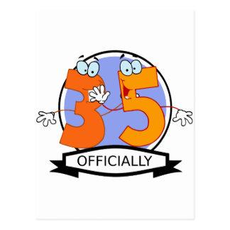 Oficialmente bandera de 35 cumpleaños tarjetas postales