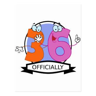 Oficialmente bandera de 36 cumpleaños postal