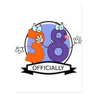 Oficialmente bandera de 38 cumpleaños tarjeta postal