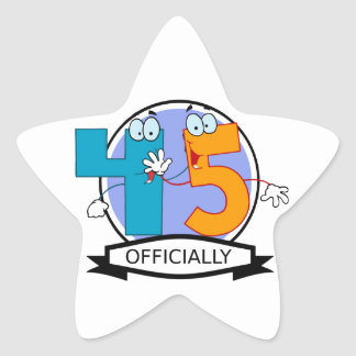 Oficialmente bandera de 45 cumpleaños pegatina en forma de estrella