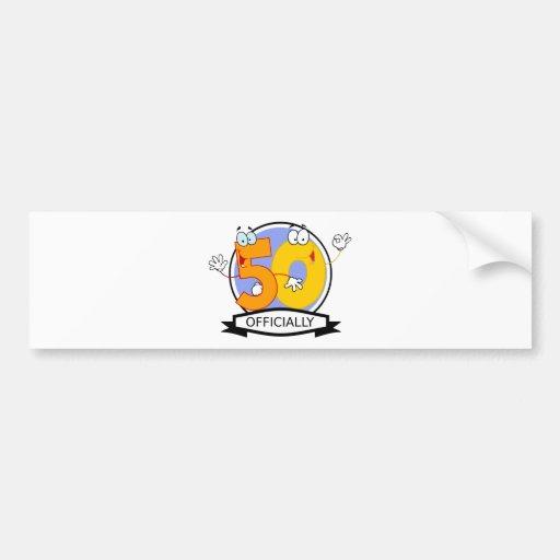 Oficialmente bandera de 50 cumpleaños etiqueta de parachoque