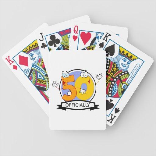 Oficialmente bandera de 50 cumpleaños baraja de cartas