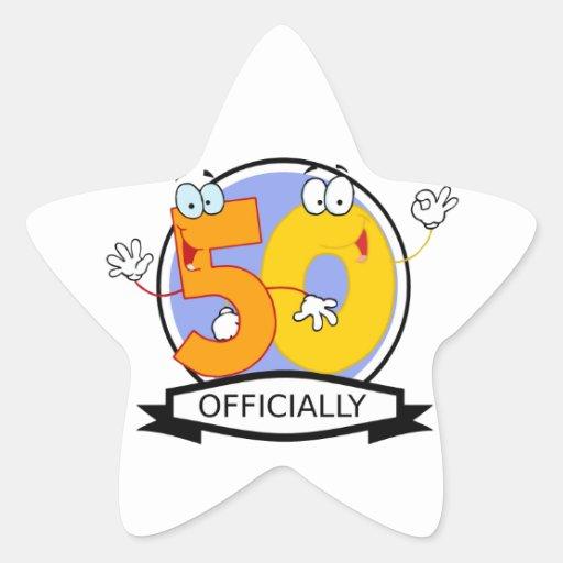 Oficialmente bandera de 50 cumpleaños calcomanías forma de estrella