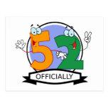 Oficialmente bandera de 52 cumpleaños postal