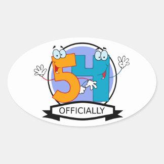 Oficialmente bandera de 54 cumpleaños pegatina ovalada