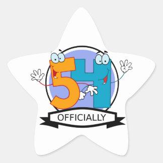 Oficialmente bandera de 54 cumpleaños pegatina en forma de estrella
