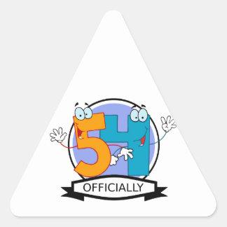 Oficialmente bandera de 54 cumpleaños pegatina triangular
