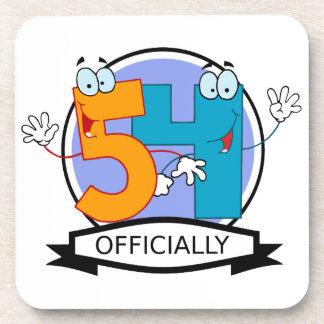 Oficialmente bandera de 54 cumpleaños posavasos de bebidas