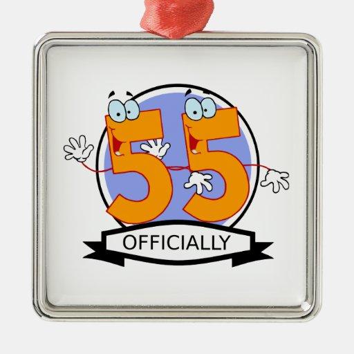 Oficialmente bandera de 55 cumpleaños ornamento para arbol de navidad