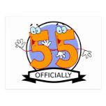 Oficialmente bandera de 55 cumpleaños tarjeta postal