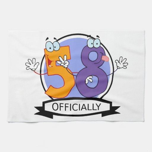 Oficialmente bandera de 58 cumpleaños toallas de mano