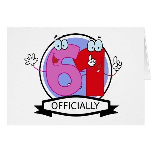 Oficialmente bandera de 61 cumpleaños tarjeta de felicitación