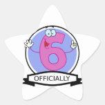 Oficialmente bandera de 6 cumpleaños pegatinas forma de estrella personalizadas