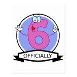 Oficialmente bandera de 6 cumpleaños tarjetas postales
