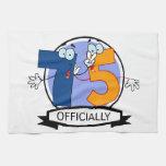 Oficialmente bandera de 75 cumpleaños toallas de cocina