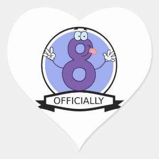Oficialmente bandera de 8 cumpleaños pegatina en forma de corazón