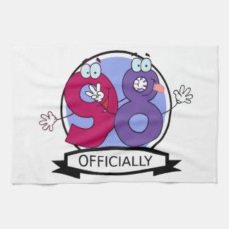 Oficialmente bandera de 98 cumpleaños toallas de cocina