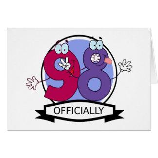 Oficialmente bandera de 98 cumpleaños tarjeton
