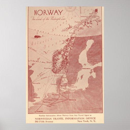 Oficina 1939 de información noruega del viaje de N Póster