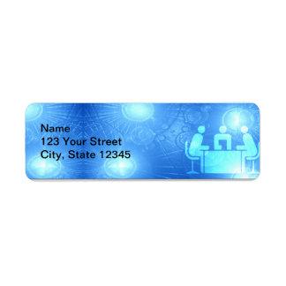 Oficina azul abstracta moderna etiqueta de remite