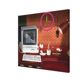 oficina clásica de los años 80 con el ordenador lona envuelta para galerias