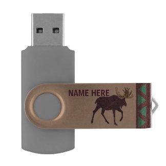 Oficina de la Cuero-Mirada de los alces rústicos Memoria USB