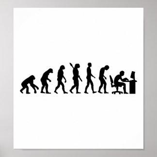 Oficina del ordenador de la evolución póster