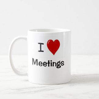Oficina muy divertida que dice - reuniones del taza de café