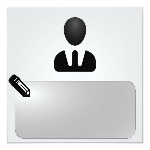 Oficina - trabajo invitación 13,3 cm x 13,3cm
