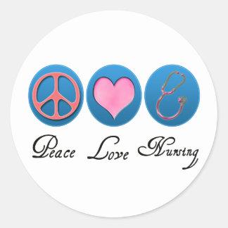 Oficio de enfermera del amor de la paz pegatina redonda