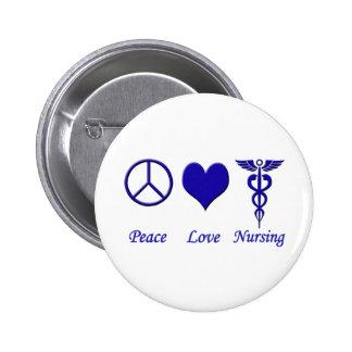 Oficio de enfermera del amor de la paz pin redondo de 2 pulgadas