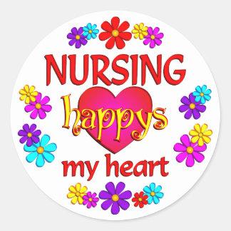 Oficio de enfermera feliz pegatina redonda