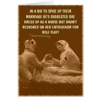 Oficio de enfermera hilarante tarjeta de felicitación