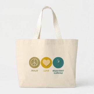 Oficio de enfermera registrado amor de la paz bolsas lienzo
