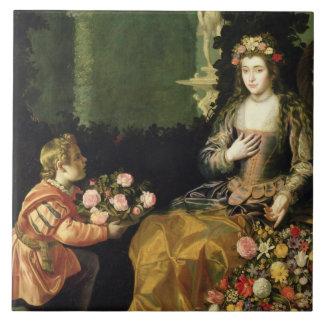 Ofreciendo a la flora, 1627 (aceite en lona) azulejo cuadrado grande