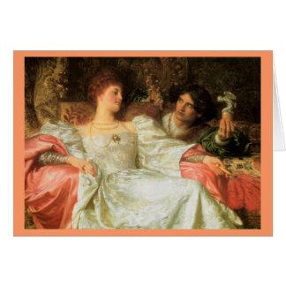 Ofrecimiento de un regalo romántico tarjeta de felicitación