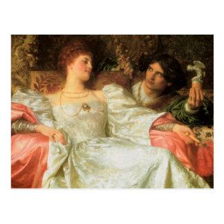 Ofrecimiento de un regalo romántico postales