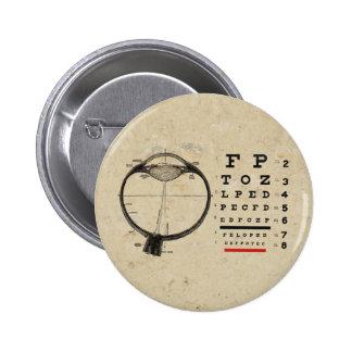 Oftalmólogo del vintage pin redondo de 2 pulgadas