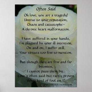 Often Said Love Poem Poster