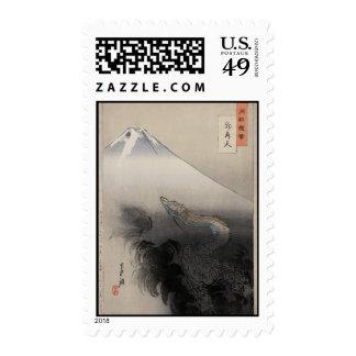 Ogata Gekko - Dragon rising to the Heavens Postage Stamp