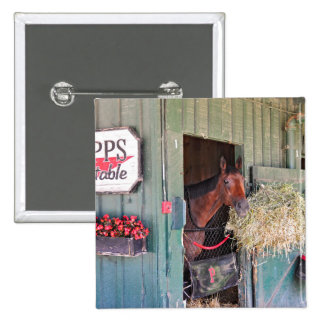 Ogden Phipps Stables with Scampering Pinback Button