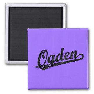 Ogden script logo in black distressed fridge magnets