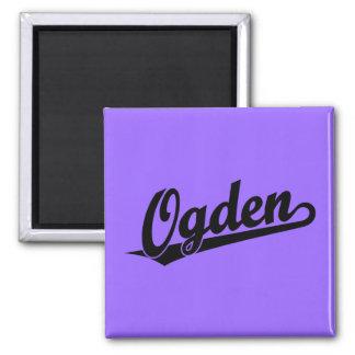 Ogden script logo in black fridge magnet