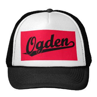 Ogden script logo in black trucker hat
