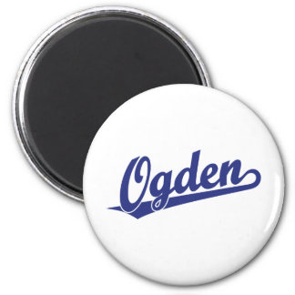 Ogden script logo in blue fridge magnet