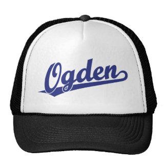 Ogden script logo in blue trucker hat