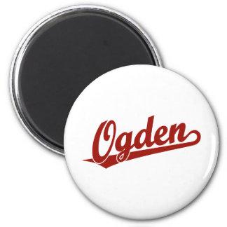 Ogden script logo in red refrigerator magnet