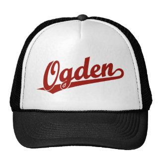 Ogden script logo in red trucker hat