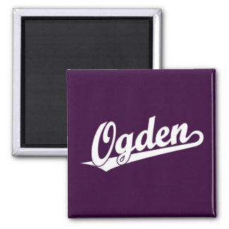 Ogden script logo in white refrigerator magnet