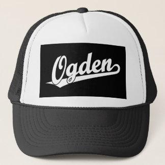 Ogden script logo in white trucker hat